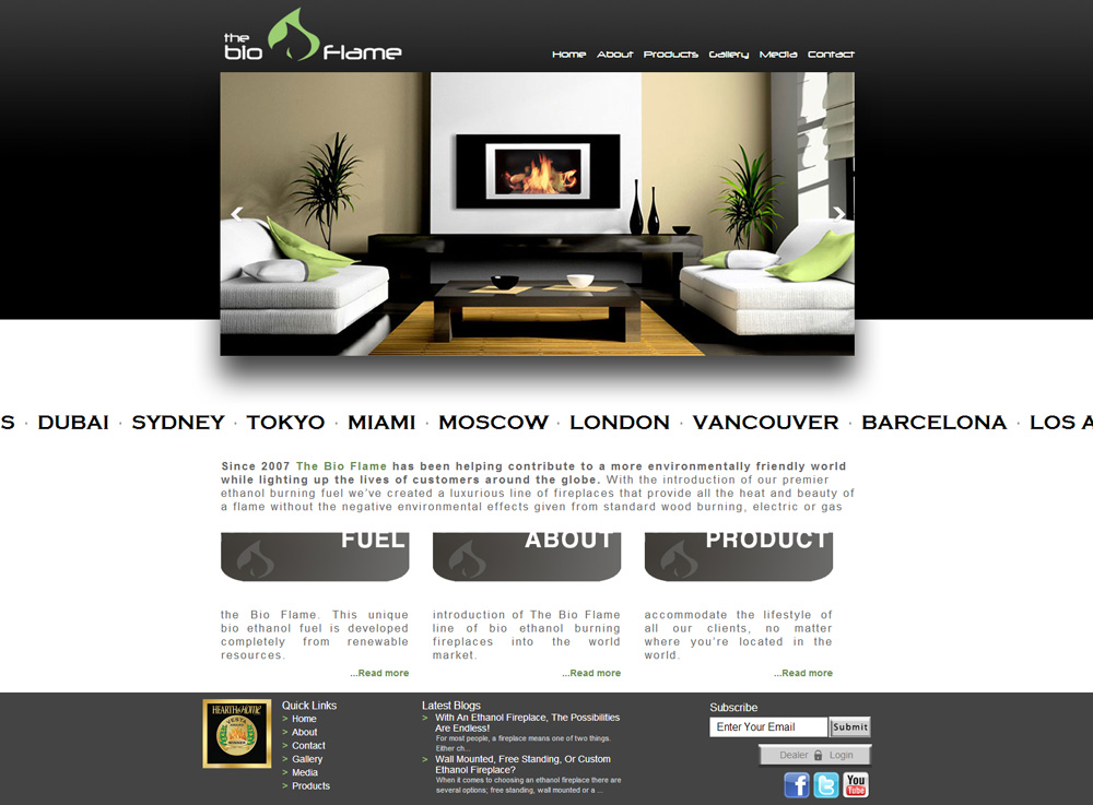 Cms web design eco friendly fireplaces homepage